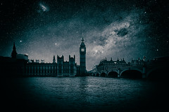 An Idea Is An Idea Until You Make It Happen - London City Make Believe by Simon & His Camera (Simon & His Camera) Tags: night sky stars london bigben clock city urban abstract architecture building bw blackandwhite cloud conceptual dark iconic skyline light monochrome outdoor parliament reflection river thames simonandhiscamera tower vignette water