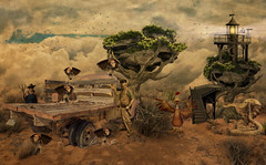 'Good ol Boy's' (brian_stoddart) Tags: surreal sky clouds fantasy birds snake buildig tree desert texture tone truck figure