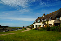 Quay Cottages (JamieHaugh) Tags: porlock somerset england uk sony a6000 color weir outdoors coast cottages boats sky clouds blue green grass building homes houses landscape
