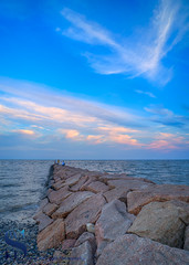 clouds over the rocks (Singing With Light) Tags: 17th 2017 alpha6500 ct milford mirrorless nycny silversandsstatepark silversands singingwithlight sunsetjune a6500 boardwalk july photography singingwithlightphotography walnutbeach