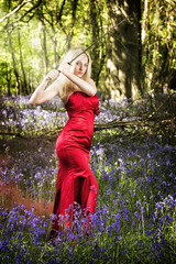 Warrior princess ready for battle (BarryKelly) Tags: model shoot bluebell wexford red dress satin sword tree forest silk blonde pose green battle warroir princess