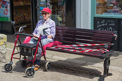 Caution. Wet Paint. (pni) Tags: people bench tape warningsign human person woman being street uk17 penzance cornwall uk england unitedkingdom pekkanikrus skrubu pni