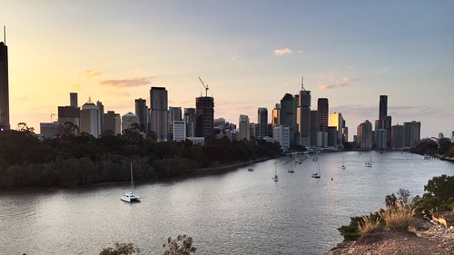 Sunset over Brisbane CBD from Kangaroo Point, Queensland