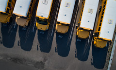 yellow submarines (sephrocker) Tags: drone p4 schoolbus bus yellow school lines shadows group overhead