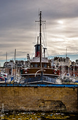 The Cervia in Ramsgate Harbour alternate view (philbarnes4) Tags: cervia ramsgate thanet kent england dslr craft yacht yachts nikond80 coast marine philbarnes tug ramsgateharbour evening