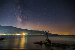 Staring at the Starry Sky (Vagelis Pikoulas) Tags: stars star sky galaxy greece space universe milky milkyway way summer august 2017 sea seascape landscape night nightscape porto germeno green tokina 1628mm view selfshot selfie myself reflections colours