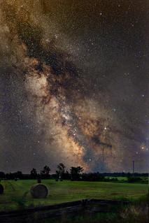 Milky Way over hay field in rural west Ottawa