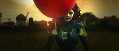 You'll Float Too.. (Ashley Carter // Untold Stories) Tags: sl secondlife virtualworld horror it movie film parody ashleycarter landscape balloon pennywise clown makeup color orange green yellow sun glow setting field country farm crazy scary creepy smile laugh