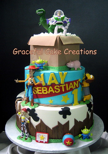 Miraculous Toy Story Birthday Cake With Woody Buzz And Jessie A Photo On Personalised Birthday Cards Rectzonderlifede
