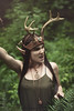 Faun (Sarah F. Bowman) Tags: green model modelling pose woman fawn faun crown antlers fashion ethereal whimsical forest nanaimo vancouver island staff keys moss trees wig brunette braids
