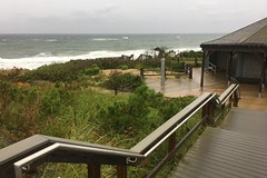 Angles to the Sea (brucetopher) Tags: rain weather wet shiny rainy storm stormy gale tropicalstorm tropical steps stairs shower outdoor beach waves surf water ocean sea coast coastal seacoast