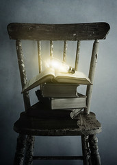 Enlightenment (AJWeiss71) Tags: lightbulb book books chair stilllife light illuminated glowing bright old rustic antique vintage nostalgia nostalgic education learning dark darkness amyweiss knowledge
