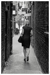Shortcut down the Alley (johnscratchley) Tags: streetphotography people candid blackandwhite citystreets hdr