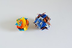 Fish Pinwheel Tetrahedron and Cube (Byriah Loper?) (Byriah Loper) Tags: origami origamimodular modularorigami modular paperfolding paper polygon polyhedron byriahloper wireframe woven