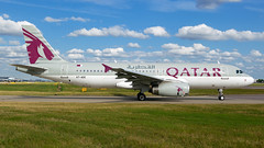 Qatar A320 At Heathrow. (spencer.wilmot) Tags: a7adc qr qtr qatarairways a320 aviation heathrow sideon clouds lhr london lhregll egll departure plane aircraft airplane airliner airport flyingforba airside apron airbus holdingpoint 09r civilaviation commercialaviation passengerjet mediumhaul grey onyx jet jetliner ramp twin taxiway