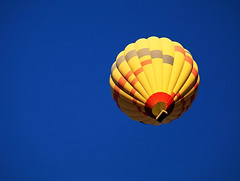 Over My Head (studioferullo) Tags: art beauty bright colorful colourful colors colours contrast design detail edge light minimalism outdoor outside perspective pattern pretty scene serene tranquil sky study sunlight sunshine texture tone world sedona arizona balloon hotairballoon blue yellow red float fly basket round