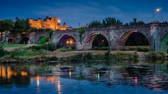 Blue hour on Carcassonne (.remfer06) Tags: 50mm carcassonne vacances f11 longuepose blue hour heure bleue diffraction sun star bridge pont citadelle river reflexion reflections reflexions