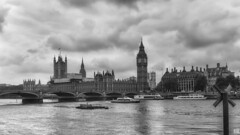 A black and white morning (BAN - photography) Tags: bigben westminster bridge riverthames d810boatsbarge arches clock