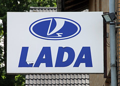 Lada sign (Schwanzus_Longus) Tags: delmenhorst german germany old classic vintage car workshop service station automobile repair lada russian russia sign