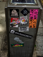 Lady Gonzalez (Steve Taylor (Photography)) Tags: ladygonzalez wethepeople cloakwork nylon jesusamoretti fish dasr cabinet solarpanel graffiti sticker streetart metal uk gb england greatbritain unitedkingdom london