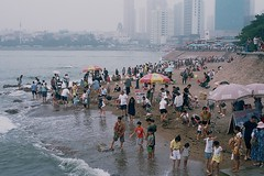 "High Tide on the beach at Qingdao, China (Xsbmrnr (Please read profile before ""following"") Tags: china chinaimages qingdao film 35mm 35mmfilm olympusom1 olympus om1 colourreversal colourfilm zuiko travel"