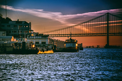 By the river Tagus (Maria Eklind) Tags: spegling reflection silhouette bro bridge color lisbon tagusriversunsetcruise street water city portugal river sky cityview himmel solnedgång boat sunset lissabon streetview marlintours lisboa pt ship sea