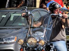 Biker (thomasgorman1) Tags: motorcycle biker man street streetphotos traffic town chopper helmet candid public canon tattooes tatted tough looking pennsylvania