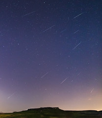 Perseid Shower over Carl Wark (kieran_metcalfe) Tags: composite night derbyshire peakdistrict landscape meteors shootingstars astrophotography stars perseids2017 meteor shower perseids shootingstar sky nature