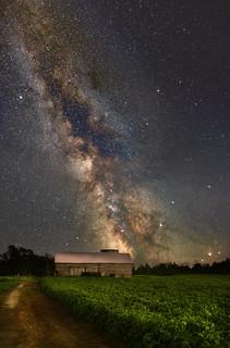 Milky Way over log barn - (Explored)