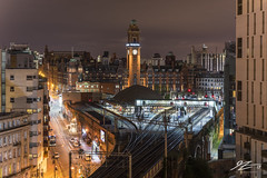 Lights And Music Are On My Mind (Tim van Zundert) Tags: hdr highdynamicrange oxfordroad train railway station tower theprincipal manchester greatermanchester northwestengland architecture urban city cityscape skyline night evening longexposure sony a7r sel55f18z 55mm zeiss