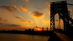 Looking West at sunset across the Hudson River (conaero) Tags: nyc georgewashingtonbridge ny nj hudson river sunset clouds blue orange red