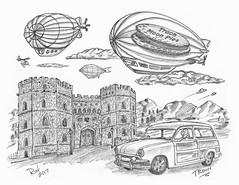 Troon (rod1691) Tags: bw scifi grey concept custom car retro space hotrod drawing pencil h2 hb original story fantasy funny tale automotive art illistration greyscale moonpies sketch