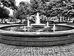 Kellogg Park, Plymouth, Michigan (Dennis Sparks) Tags: blackwhite michigan plymouth fountain kelloggpark iphone