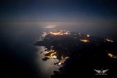 Menorca at night, as seen while on approach into Palma de Mallorca (gc232) Tags: samyang 20mm menorca night high iso canon 6d mah mahon aerial pilotsview