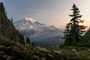 Mt Rainier Sunrise under Smokey Skies (explorer_ron) Tags: backpacing backpack clifflake hike hiking mountrainier mtrainier offtrail pinnaclepeaktrail plummerpeak tatoosh