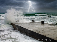 Lighting on the sea (Marcella Spanò Garsia) Tags: sea seascape wave lighting clouds sky sicily mediterraneo italy italia temporale stormy weather