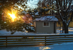 Winter Evening (Linnea from Sweden) Tags: nikon d7000 cosina af 1935mm 3545 mc winter evening snow building light fence