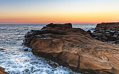 Rocky Sunrise Seascape (Merrillie) Tags: australia avoca avocabeach background bay beach beautiful beauty centralcoast coast coastal coastline color dawn dream holiday horizon landscape light longexposure nature newsouthwales nsw ocean outdoors rocks rockshelf rocky scene scenic sea seascape sky sunrise surf travel water waterscape wave