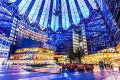 Sit Tight (Tim van Zundert) Tags: sonycenter potsdamerplatz tiergarten mitte berlin germany europe capital city urban architecture building blue night evening longexposure sony a7r voigtlander 21mm ultron
