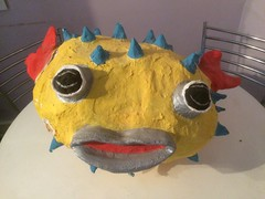 Sea monster. (Bennydorm) Tags: gracioso divertente komisch drole maritime fishy ears mouth eyes crafts sculpture plaything toy craftwork face silly iphone5s seamonster colourful colours seacreature handmade comical crazy daft fun funny monster