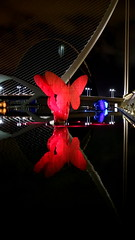 VALENCIA, SPAIN (pwitterholt) Tags: valencia spanje spain middellandsezee architecture architectuur canoneosm3 monumentalsculptureexhibition manolovaldes museudelesciencies sculpture weerspiegeling reflection reflectie vlinder butterfly red rood pontdelassutdelor mediterraneansea canon