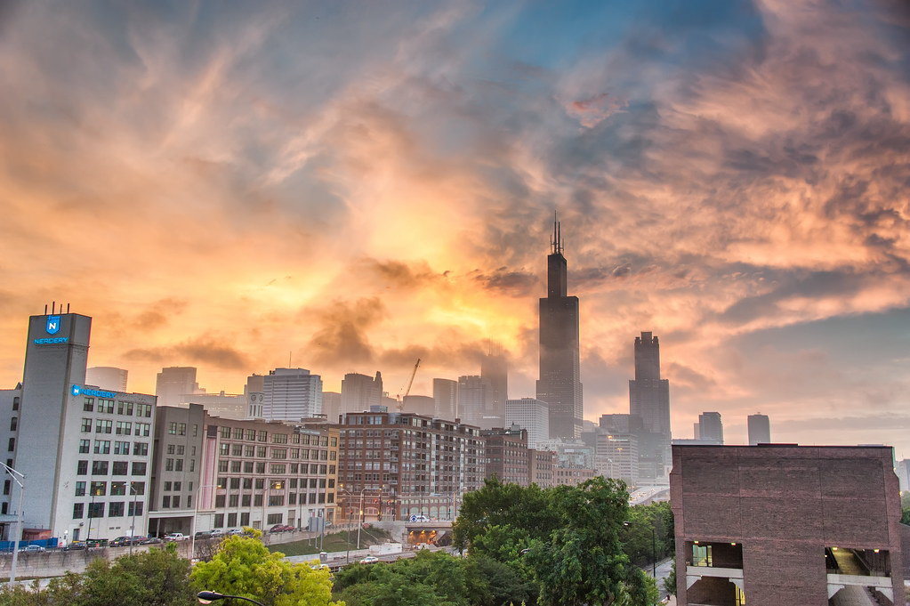 The Chicago Skyline during a colorful sunrise taken from the UIC campus.