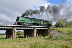 Locomotive 34081 '92 Squadron' in a positioning move at Wansford, preparing to cross the river and enter the station. Nene Valley Railway. 17 09 2017 (pnb511) Tags: bulleid battleofbritain 92squadron southern railway loco locomotive steam power pacific nenevalleyrailway heritage trains preserved wansford bridge trees sky smoke