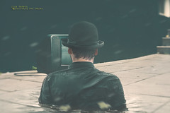 the man and the TV set (olgavareli) Tags: olga vareli surreal tv set man hat pavement trolled