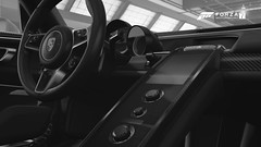 Dive In (Mr. Pebb) Tags: porsche918spyder interior stockshot photomode forza fm7 forzamotorsport7 videogame xboxone hypercar supercar car german blackandwhite blackwhite bw desaturated microsoft turn10 t10 hybrid