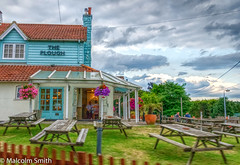 The Plough (M C Smith) Tags: pentax k3 benches pub wood trees people blue grass green sky clouds white fence lamps flowers wires red pink purple