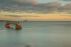 Bridge to nowhere at sunrise (ola_er) Tags: bridge sunrise light august morning sea sky clouds long exposure water beach