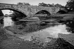 The Auld Brig, Musselburgh. (Rollingstone1) Tags: musselburgh auldbrig bridge river riveresk scotland water ford battle roman 16thcentury outdoor landscape blackandwhite mono monochrome footbridge