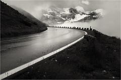road to hell (goehler.mike) Tags: bw black white sw schwarz weiss einfarbig landscape landschaft alpen berge mountains street strasse sepia