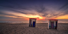 Katwijk aan Zee - beach cabins (Toon E) Tags: 2017 holland netherlands nederland katwijkaanzee beach leiden thehague northsea sunset cabins sheds clouds water orange red light outdoor sony a7rii sonyfe1635mmf4